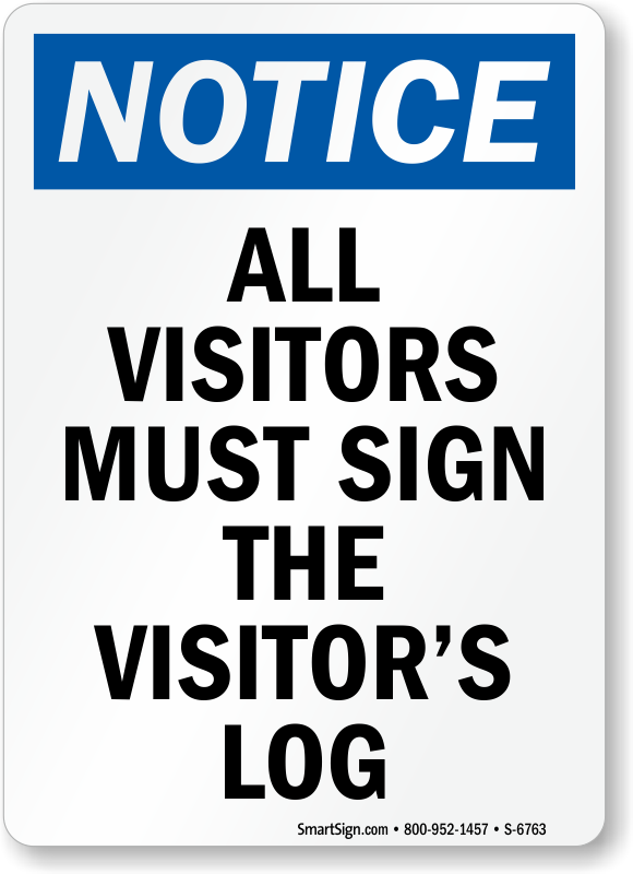 visitor security signs With all visitors must sign in template