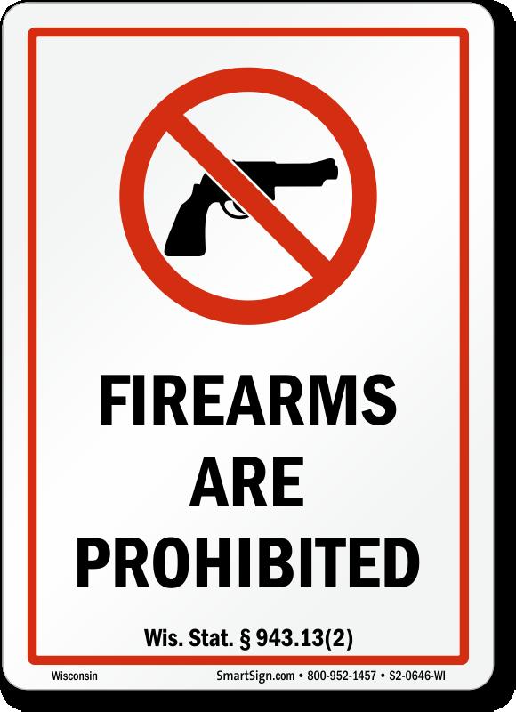 wisconsin no guns law signs