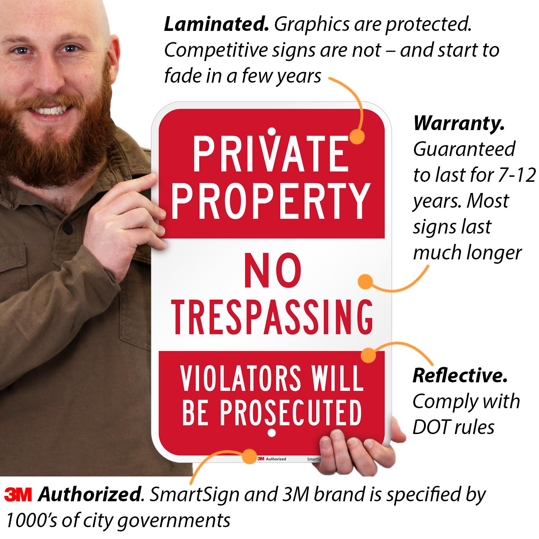 No Trespassing Sign SmartSignPrivate Property 12 x 18 3M Engineer Grade Reflective Aluminum