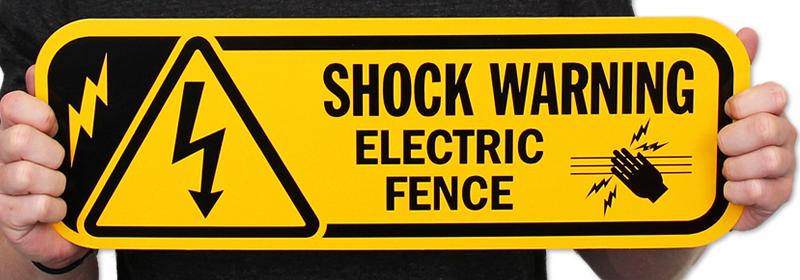 Electric Fence Sign Shock Warning Sign Sku K 9807