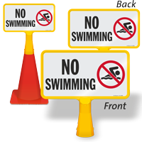 No Swimming ConeBoss Pool Sign