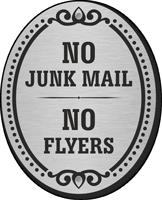 No Junk Mail No Flyers DiamondPlate Door Sign