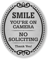 No Soliciting Thank You DiamondPlate Door Sign