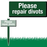 Please Repair Divots Easystake Sign