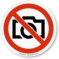 No Photography ISO Prohibition Sign