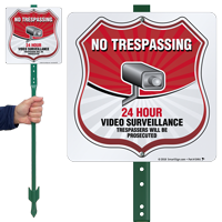 24 Hour Video Surveillance LawnBoss Sign