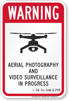 Aerial Photography Video Surveillance California Drone Sign