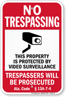 Alabama Trespassers Will Be Prosecuted Sign