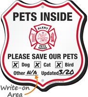 Alert Pets Inside Please Save Our Pets Shield Sign