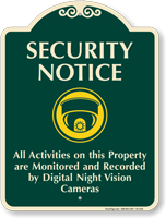 All Activities On Property Monitored Signature Sign