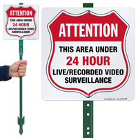 Area Under 24 Hour Video Surveillance LawnBoss Sign