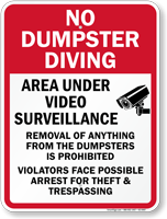 Area Under Video Surveillance No Dumpster Sign