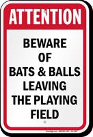 Attention Beware Of Baseball And Bats Sign