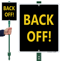 Back Off Lawnboss Sign & Stake Kit
