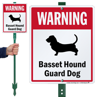 Warning Basset Hound Guard Dog LawnBoss™ Signs