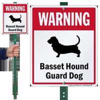 Warning Basset Hound Guard Dog LawnBoss™ Signs