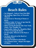 Beach Rules No Lifeguard Signature Sign