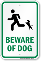 Beware Dog Sign, Tiny Dog on Hind Legs