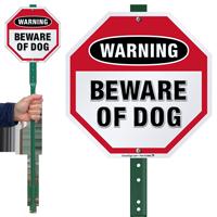 Beware Of Dog Warning LawnBoss Sign
