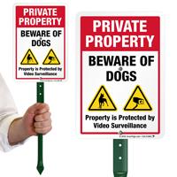 Beware Of Dogs Video Surveillance LawnBoss Sign