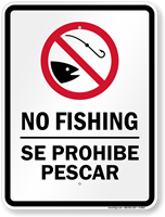 Bilingual No Fishing Sign