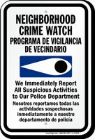 Bilingual Neighborhood Crime Watch Report Police Sign