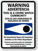 Bilingual Crime Watch Community Police Department Sign