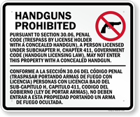 Section 30.06 Concealed Handguns Prohibited Sign for Texas