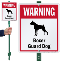 Warning Boxer Guard Dog LawnBoss™ Signs