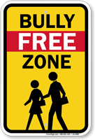 Bully Free Zone With Graphic No Bullies Sign