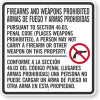 Section 46.03 Carry Firearms Or Other Weapons Prohibited Texas Gun Law Sign