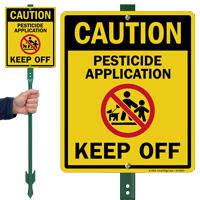 Caution Pesticide Application Keep Off Lawnboss Sign Kit