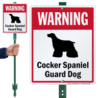 Warning Cocker Spaniel Guard Dog LawnBoss™ Signs