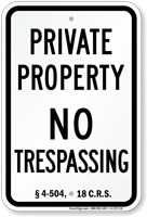Colorado No Trespassing Sign