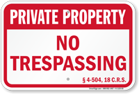Colorado Private Property Sign