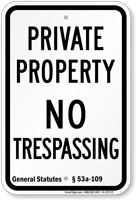 Connecticut No Trespassing Sign