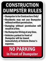 Construction Dumpster Rules Sign