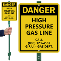 Custom Danger High Pressure Gas Line LawnBoss Sign
