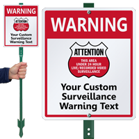 Customizable Area Under Surveillance Sign & Stake Kit