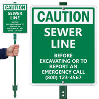 Custom Caution Sewer Line LawnBoss Sign