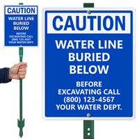 Custom Caution Before Excavating Call Water Department Sign