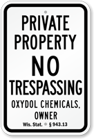 Custom Private Property Sign Wisconsin