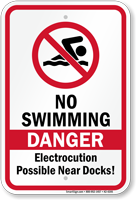Danger No Swimming Electrocution Possible Sign