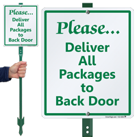 Deliver All Packages To Back Door LawnBoss Sign