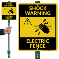 Electric Fence Lawnboss Sign & Stake Kit