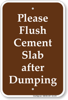 Flush Cement Slab After Dumping Campground Sign