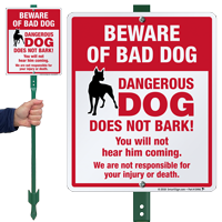Funny Beware Of Bad Dog LawnBoss Sign