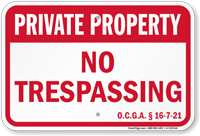 Georgia Private Property Sign