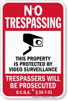 Georgia Trespassers Will Be Prosecuted Sign