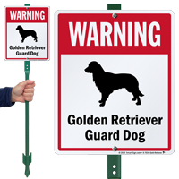 Warning Golden Retriever Guard Dog LawnBoss™ Signs